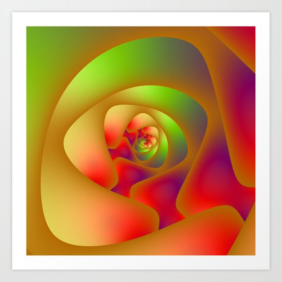 Green and Red Spiral Labyrinth Art Print