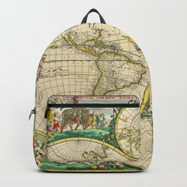"Frederik de Wit ""Worldmap"" title Nova Orbis Tabula, In Lucem Edita (1670) Backpack"