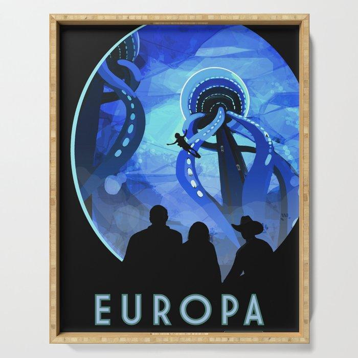 Europa Space Travel Retro Art Serving Tray