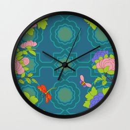 Nonya Peonies and butterfly Wall Clock