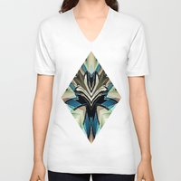 mask V-neck T-shirts featuring Mask by Fringeman