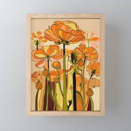 Orange California poppies, mid century, 70s retro, flowers Framed Mini Art Print