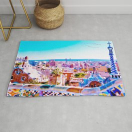 Park Guell Watercolor painting Rug