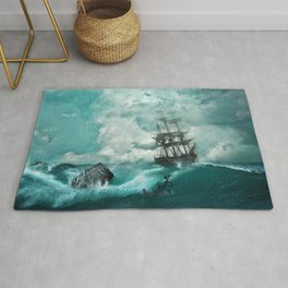 Storm Sea Ship Shipwreck Ocean Blue Rug