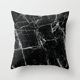 Black Marble Edition 1 Throw Pillow