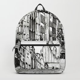 GOTHIC STREET OF POLISH CITY GDANSK IN GREY TONES Backpack