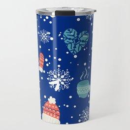 Winter Pattern Mittens Mugs Hearts Snow Flakes Travel Mug