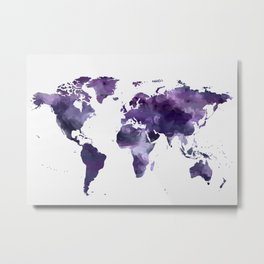 Purple World Map Metal Print