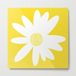 Only One White Daisy Flower Yellow Mellow Background #decor #society6 #buyart Metal Print