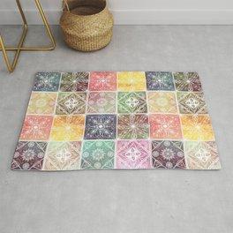 Trendy White Geometric Ornament Colorful Tile Art Rug