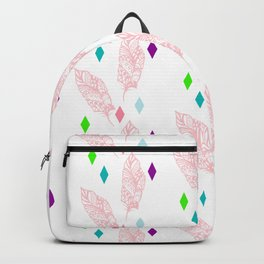 Geometric bohemian pink green teal modern feathers Backpack