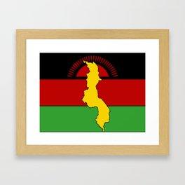 Malawi Map on a Malawian Flag Framed Art Print
