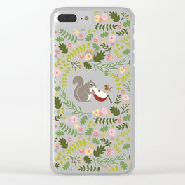 Friendship in Wildlife_Squirrel and Robin_Bg White Clear iPhone Case