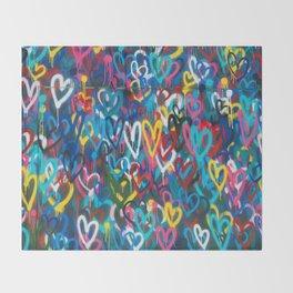 Graffiti Hearts Love (Color) Throw Blanket