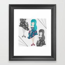 RETRO BLUE Framed Art Print