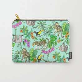 Rainforest Friends - watercolor animals on mint green Carry-All Pouch