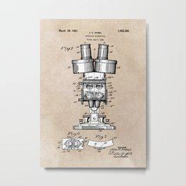 patent art Sabel Binocular Microscope 1926 Metal Print