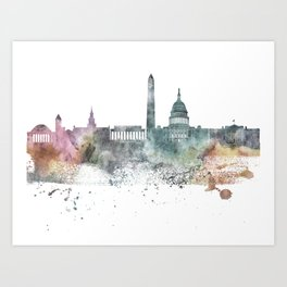 Washington Nature Pastels Skyline Art Print