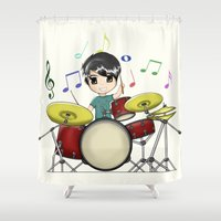 chibi Shower Curtains featuring Chibi Drummer by Jelo
