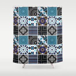 Patchwork . Blue , black and grey . Shower Curtain