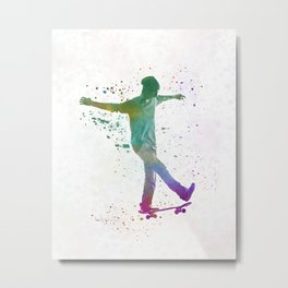 Man skateboard 07 in watercolor Metal Print