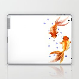 Goldfish, two fish, Koi Asian Style watercolor art, feng shui Laptop & iPad Skin