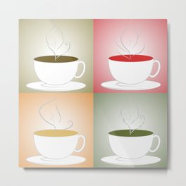 Tea Cups: Mate, Rooibos, Oolong, Matcha Metal Print