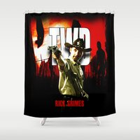 grimes Shower Curtains featuring The Walking Dead Rick Grimes by insitemyhead