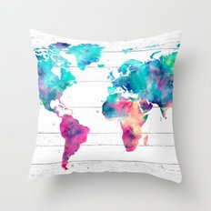 World Map Watercolor Paint on White Wood Throw Pillow