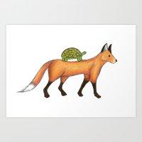 Fox and Turtle Design Art Print