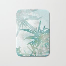 Aqua Blue Watercolor Palm Leaves Painting Bath Mat