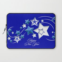 Teal and Blue Happy New Year Shooting Stars  Laptop Sleeve