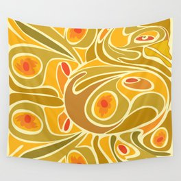 Rooster pattern in Yellow Goldenrod Wall Tapestry