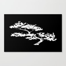 Bonzai Tree Reversed on Black Background Canvas Print