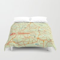 maps Duvet Covers featuring Maps - Johannesburg by DRIEHOEK