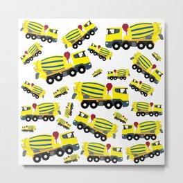 Concrete Cement Truck Construction Trucks Pattern Metal Print