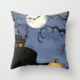 Halloween Spooky Scary House Moon Bats Pumpkin Trees Throw Pillow