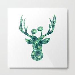 Cactus Flowers Deer Head Metal Print