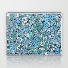 Hand drawn Floral in Blue, Grey & Mint Green Laptop & iPad Skin