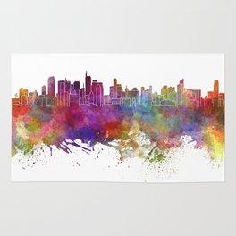 Makati skyline in watercolor background Rug