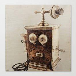 Vintage Telephone Wood Burning Canvas Print