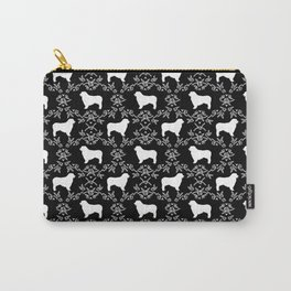 Australian Shepherd black and white dog breed pet portrait dog silhouette pattern minimal Carry-All Pouch