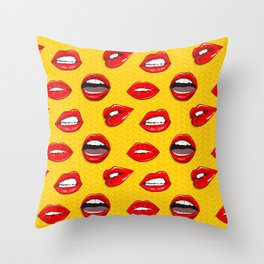 Lips on yellow Throw Pillow