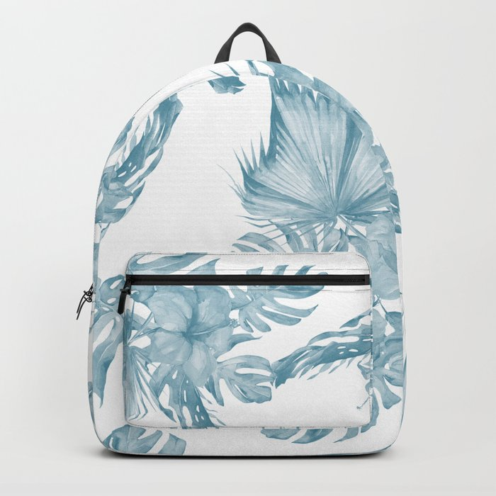 Palm Leaf Hibiscus Classic Blue + White Backpack