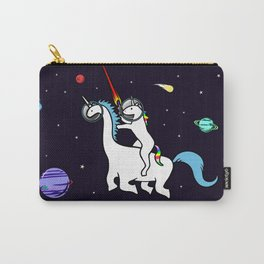 Unicorn Riding Dinocorn In Space Carry-All Pouch