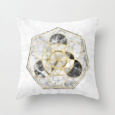 Marble & Gold Geometry / Heptagon Throw Pillow