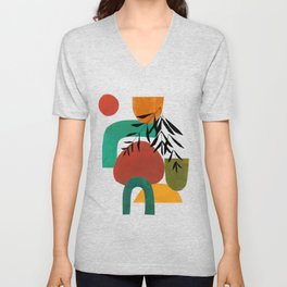 'Afternoon At The Park' Abstract Geometric Shapes Paper Collage Colorful Arrangement Mid Century Modern Cool Funky Style by Ejaaz Haniff Unisex V-Neck