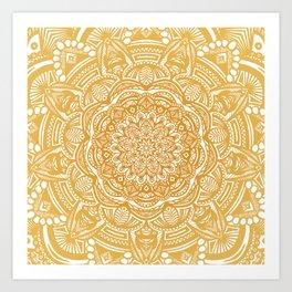 Golden Mustard Yellow Orange Ethnic Mandala Detailed Art Print