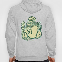 Santa Claus Pointing Side Etching Hoody