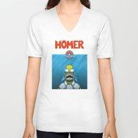 homer V-neck T-shirts featuring HOMER by BC Arts